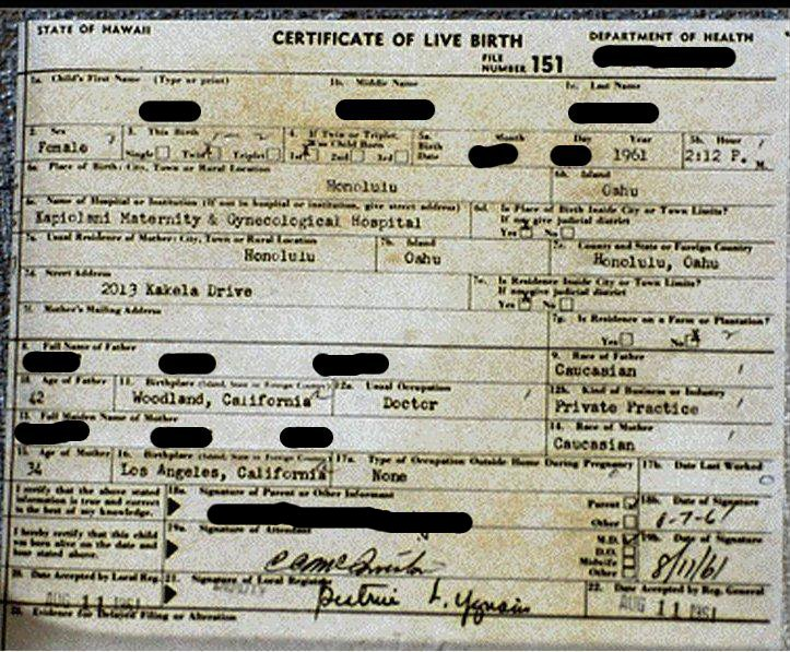 Below, you will find an actual Hawaiian Birth Certificate from roughly ...